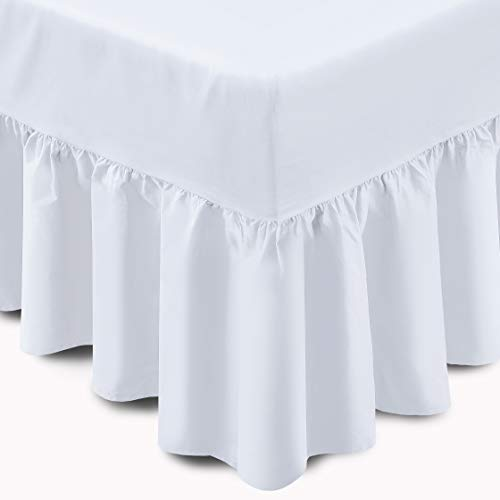 Adams Home Frilled Valance Fitted Sheet (Double, White)- Solid Colour Cotton Blended Fitted Valance Sheet-Extra Deep Ruffle fitted Bed Skirt (Box 10', Frill/Drop 15')- Fitted Valance Bed Sheet