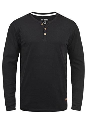 !Solid Volko Herren Longsleeve Langarmshirt Shirt Mit Grandad-Ausschnitt, Größe:XXL, Farbe:Black (9000)