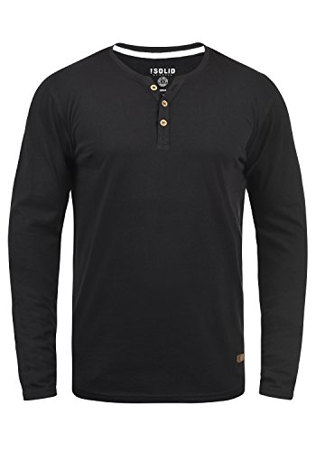 !Solid Volko Herren Longsleeve Langarmshirt Shirt Mit Grandad-Ausschnitt, Größe:L, Farbe:Black (9000)