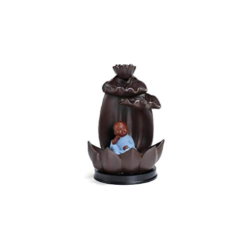 SCDZS Quemador de incienso de cerámica – Soporte de incienso de reflujo de hoja de loto – Quemador de incienso de cerámica hecho a mano para