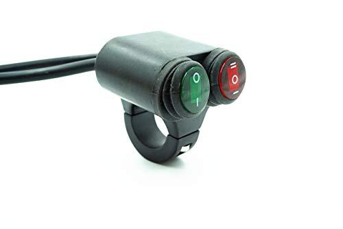 U/D LCZCZL Interruptor de la Motocicleta Interruptor de Faro Impermeable Universal Interruptor Dos en uno Aleación de Aluminio de 24 mm (Color : Green-Red (One in Two out))