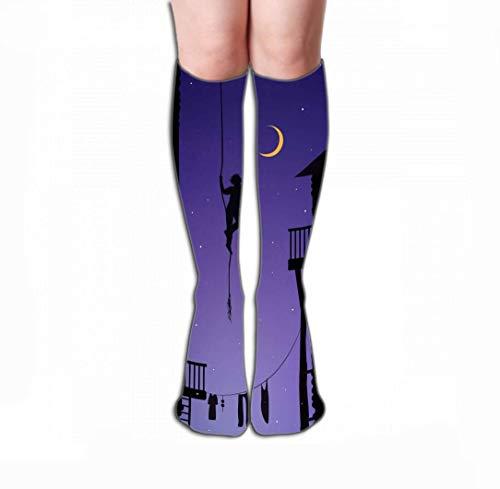 uytrgh Männer Frauen Outdoor Sport Hohe Socken Strumpf junge hängen Seil berühren Mond Fangen Traum Stadt Sterne Fliesen Länge 19,7