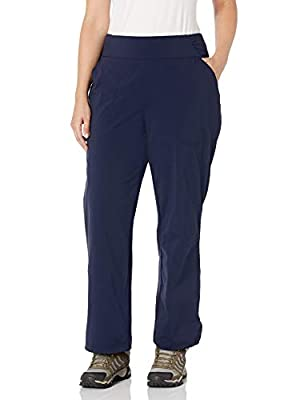 Columbia Women's Anytime Casual Relaxed Pants, Stain Resistant, Sun Protection, Dark Nocturnal, Medium x Regular