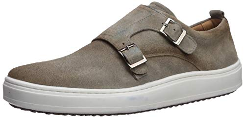 Brothers United Mens Leather Luxury Double Monk Slip on Sneaker Loafer, Light Grey Suede, 8.5 M US