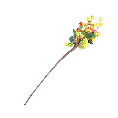 Xinger Kunstmatige Bosbes Fruitbloemen Kunstmatige Berry Planten Voor Kerst Home Wedding Decoratief, Geel