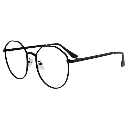 AUGEN By Visions India Unisex Spectacles With Blue Cut Lenses & Anti-Glare Coating Which Protects Eyes From Blue Light From Computer, Moble, Tablets, Laptop (Zero Power) (015 Black)