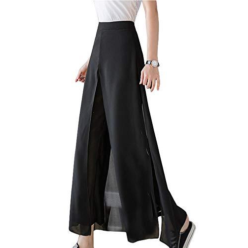 Semo1musワイドパンツ ガウチョパンツ レディース シフォン 夏 パンツ ズボン ボトムス 九分 体型カバー スカート ハイウエスト ふわふわ 大きいサイズ 柔らかい 薄手 着痩せ ゆったり カジュアル 通勤 脚長 ブラック S