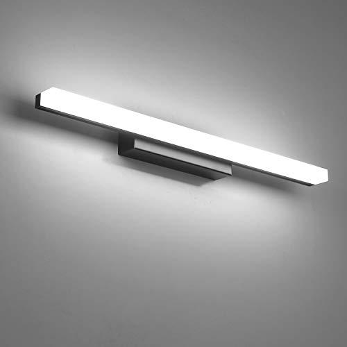 Yafido Spiegelleuchte LED Badleuchte Badlampe Spiegellampe 40CM Kaltweiß Schwarz Badezimmer lampe 9W 6000K Schrankleuchte 800Lumen IP44 Nicht-dimmbar