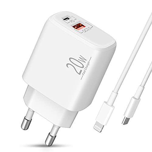 Cargador iPhone LUOSIKE con Cable Lightning de 2m, Cargador USB C de 20W, Enchufe Adaptador de Corriente con PD y QC3.0, Compatible con iPhone 12/11/Pro/Max/mini/SE 2020/XR/XS/X/8/7/6/Plus