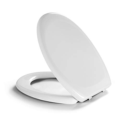 Newentor® Toilettenbrille mit Absenkautomatik, WC Sitz Deckel, Toilettensitz XXL Absenkautomatik, WC Sitz Stand WC, WC Sitz Softclose Toilettendeckel, Oval