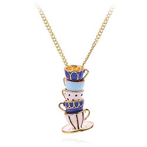 QAQV Blaue Teekanne Halskette Set Kann Teekanne Tasse Halskette Elegante Teekanne Halskette Charme Schmuck Weibliche Geschenk-Kaffee-Tasse Öffnen