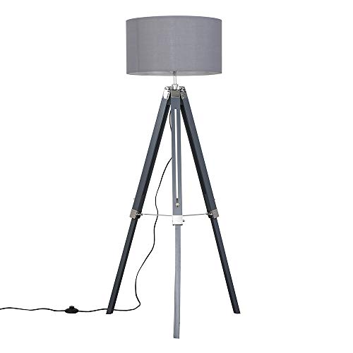 Modern Grey and Silver Chrome Tripod Floor Lamp with a Grey Cylinder Shade