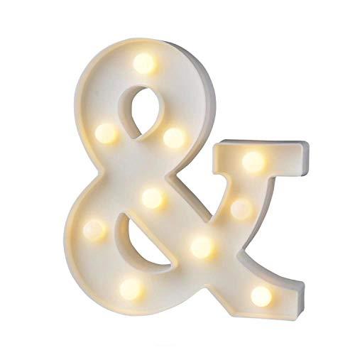 LED Deko Buchstaben - 22 cm A-Z - mit warmen Licht - Lampe beleuchtet Hinstellen Hochzeit Schriftzug Wort Love Home Batterie Lechtdeko Alphabet Ja Liebe Romantisch Wohnzimmer Bar Leuchtbuchstaben (&)