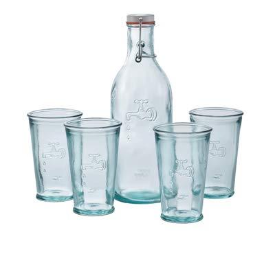 Jamie Oliver Wasserglasset: 4 Gläser und eine Wasserflasche aus Recycling-Glas