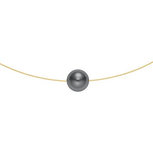 Heideman aus Edelstahl gold farbend matt Kette für Frauen mit Swarovski Perle grau rund 10mm