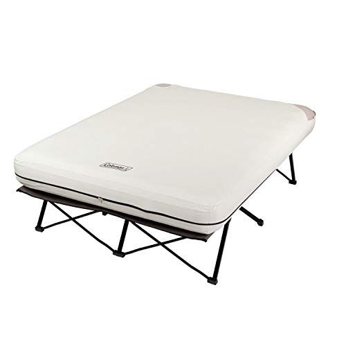 Coleman Camping Cot, Air Mattress & Pump Combo | Folding Cot with Side Tables, Air Bed & Battery Pump, Queen