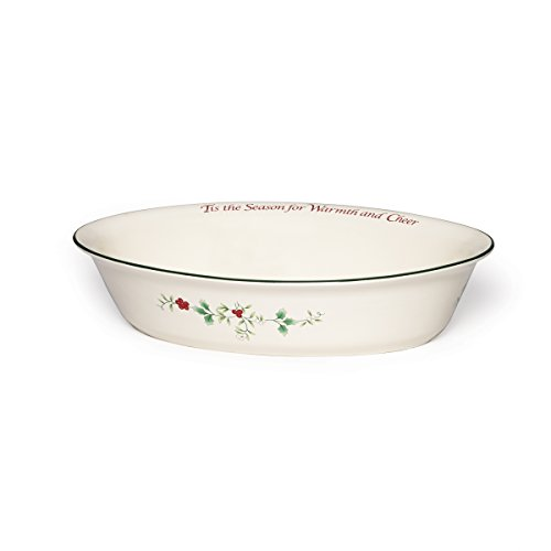 """Pfaltzgraff Winterberry Serve Bowl Stoneware Oval with Sentiments, 12.4 by 9"""", Assorted"""