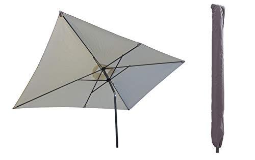 Pure Home & Garden Sonnenschirm inklusive Schutzhülle mit Stab, Sunrise Protect Natur, 300 x 200 cm, mit UV-Schutz 40 Plus,