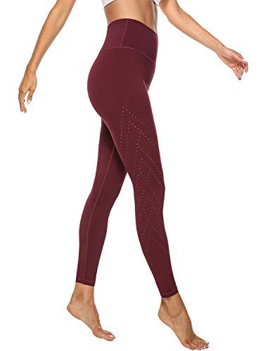 JOYSPELS Leggings Damen, Sporthose Lang Yogahosen, Sport Leggins für Damen Yoga Tights Weinrot S