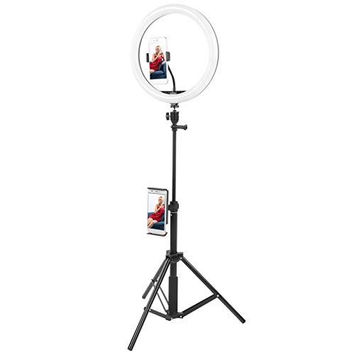 Luz de Anillo, luz de Relleno de Anillo Universal LED de 12 '' con Clip para teléfono y trípode, Brillo de 10 Niveles Ajustable, para Estudio de Video de Maquillaje, Youtube, vlogging, transmisión en