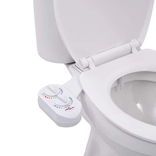 vidaXL Bidet-Aufsatz für Toilettensitz Heißes Kaltes Wasser Einzeldüse Dusch WC Aufsatz Bidet Taharet Intimdusche Intimpflege Toilette