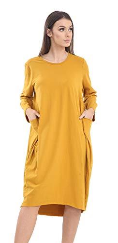 Momo&Ayat Fashions Damskie bawełniane podwijane rękawy lagenlook kieszeń workowata sukienka midi rozmiar UK 8-52