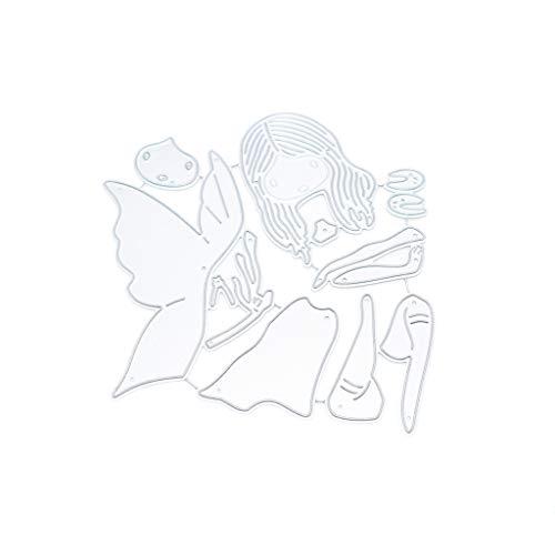 Balain Stanzschablone fliegendes Mädchen mit Flügeln, Metallprägung, Schablone für Scrapbooking, DIY Album, Papier, Karten, Kunst, Dekoration, Stanzmaschinen, Prägen, Basteln, Dekoration, für Zuhause