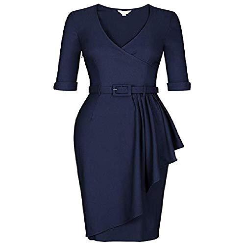 OKJI Otoño 2020 - Vestido de lápiz, cuello en V, cintura alta, dobladillo plisado, brazo largo