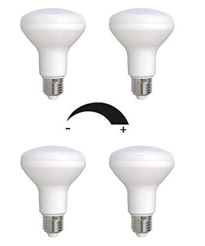 4 x dimmbare 9 Watt LED Lampe, Strahler, Spot, Fassung E27 / R80 Retrofit - warmweiß 2700K - 120° Ausstrahlwinkel - 850 Lumen entspricht ca. 75 Watt Glühlampe.