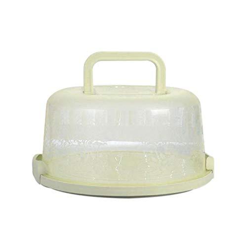 Wankd Kuchenbox rund, mit Tragegriff, Kuchenbehälter, 26 * 22 * 12.5cm Tragbare Runde Tortenschachtel Kuchen Lagerung Kuchenbox aus Kunststoff mit Haube griff, 1 Stück (Grün)