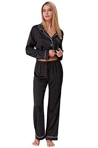 Nachtwäsche Damen Pure Schwarz Pyjama Set Seide Schlafanzug Satin Lang Schwarz Größe M