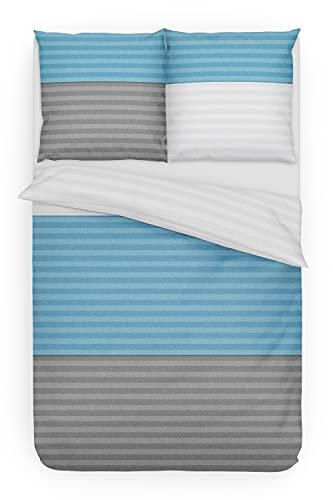 Träumschön Juego de ropa de cama de franela de 135 x 200 cm, 2 piezas, rayas horizontales, color...