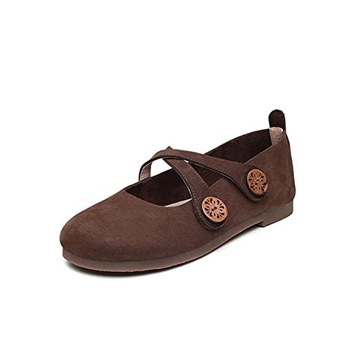 JXILY Ladies Soltery Shoes,Zapatos Piel Cuero Hechos A Mano,Zapatos Abuelita Tacón Velcro Cruzados,Primavera Retro Gran Tamaño Y Verano,Marrón,37