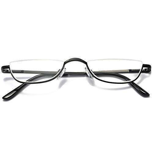VEVESMUNDO Lesebrille Metall Halbrandbrille Klassische Schmal Federscharnier Arbeitsplatzbrille Lesehilfe Sehhilfe mit sehstärke für Damen und Herren (1 Stück Schwarz, 1.5)