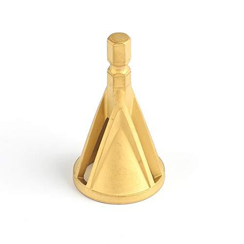 外部面取りツール 三刃 バリ取りビット 面取りカッター 削除 バリ取りツール HSS 作業工具 電動ドリルに適応 (六角シャンク, ゴールド)