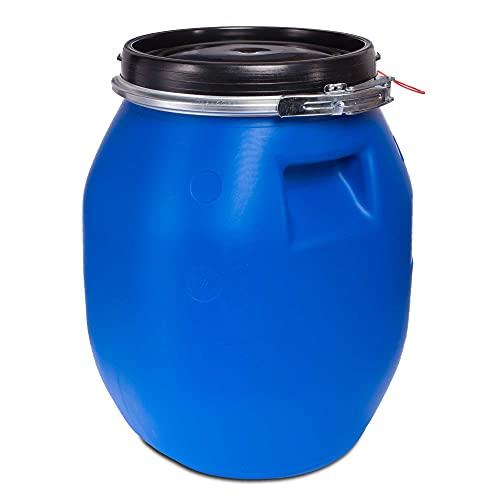30 Liter Deckelfass mit Spannverschluss| Lebensmitteltauglich | Futtertonne | Luftdicht Verschließbar | Stapelbar und Palettengerecht | Stabile Griffmulden | Blau
