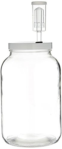 FastRack - One Gal Wide Mouth Jar with Lid and Airlock, Large Glass Jar with Fermentation Lid, 1 Gallon Glass Jar with Lid and Econolock Airlock, One Gallon Jar with Fermentation Airlock