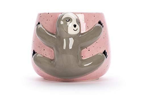 Tri-coastal Design - Keramikbecher mit Tiermotiv - Henkel und Becher aus pinkfarbener Keramik - Perfekt als Geschenkidee oder zur Dekoration des Wohn- oder Küchenraums (Sloth)