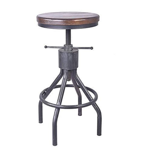 Bar stool Vintage Industrial Round creative wrought iron rotating chair lift Adjustable Height,55CM (75cm)