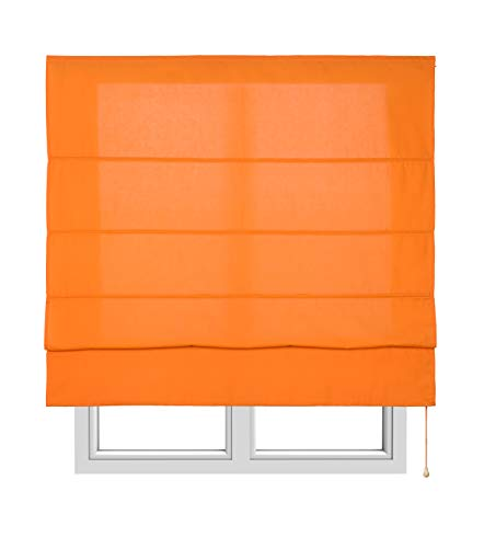 Estores Basic, Stor plegable con varillas, Naranja, 150x175cm, estores para ventana, estores plegables.