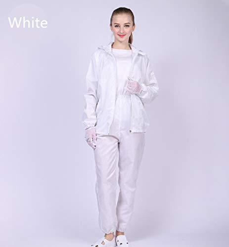 Sunday 7 ESD Anti-static Lab Coat Science Jacket Long-sleeve Non-disposable Workwear Uniform Dress Dustproof Waterproof Suit Hooded Split Work Industrial Protective Clothing (3XL, White)