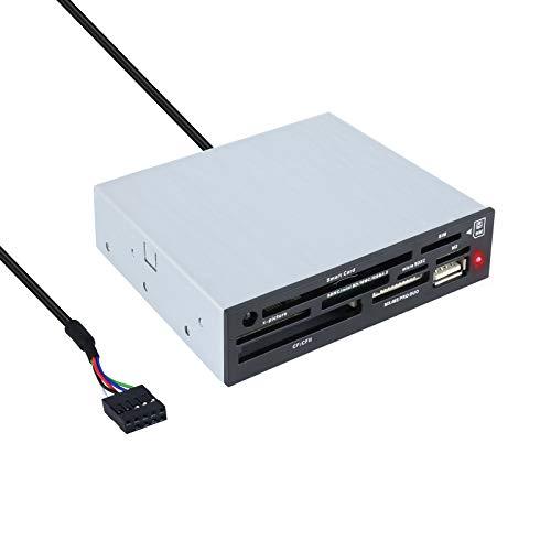Tooq TQR-202B - Lector Interno de Tarjetas de Memoria y DNI electrónico (DNIe, SIM, CF, MS, SD, SDHC, microSDHC, X-Memory, TF (Micro SD) y M2), 3.5 , USB 2.0, Color Negro, chasis metalico, 480Mbps.