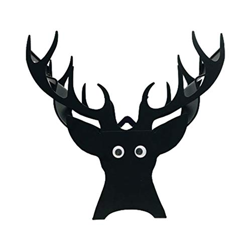 fuguzhu Toilet Roll Holder, Black Metal Toilet Paper Stand, Cute Christmas Reindeer Animal Roll Paper Holder, Wall Mounted Loo Roll Stand, Fun Bathroom Accessories, Anti-corrosion