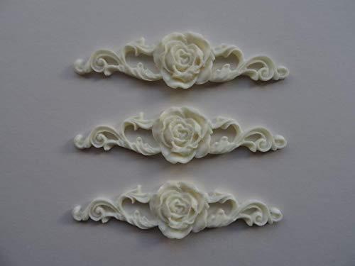 Dekorative kleine Möbel-Zierleiste, 3 Stück mit Rosenmotiv, Shabby Chic, O26A (Off Weiß)