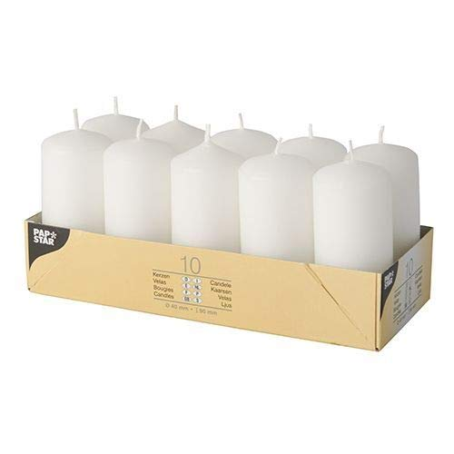 Papstar 17915 Pillar Candles Set of 10 40 x 90 mm White