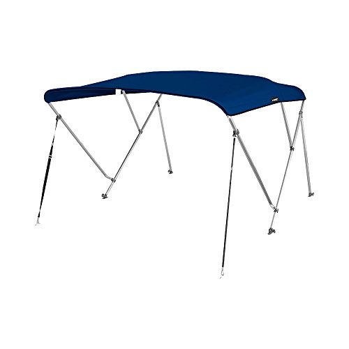 MSC 3 Bow Bimini Boat Top Cover with Rear Support Pole and Storage Boot, Color Grey, Pacific Blue, Burgundy,Navy,Beige,Forest Green Available (Navy, 3 Bow 6'L x 46' H x 61'-66' W)