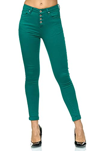 Elara Jeans Taille Haute Femme Slim Fit avec Boutons Chunkyrayan P085-6 Green-36 (S)