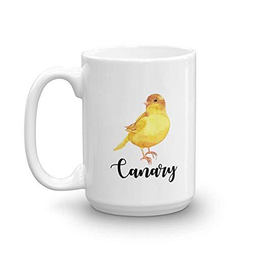 N / A Niedlicher gelber kanarischer Haustier-Vogeldruck-Kaffee- & Teebecher, Produkte, Lieferungen, Zubehör und Geschenkartikel für Vogelliebhaber Männer & Frauen