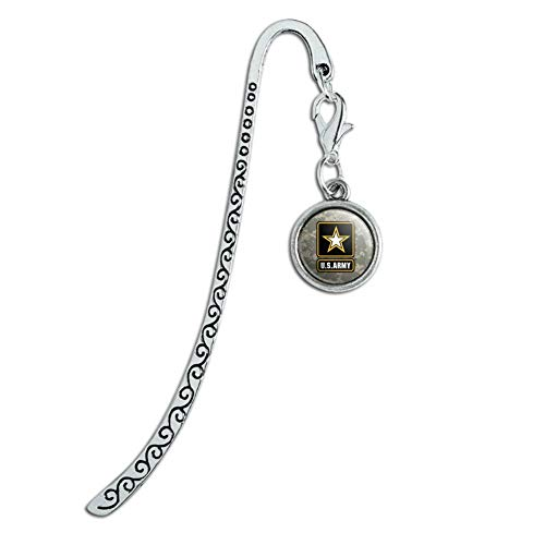 U.S. Army Logo on Camo Metal Bookmark Page Marker with Charm