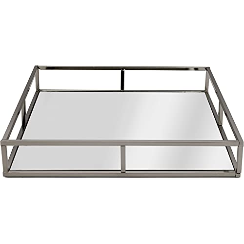 Silver Square Mirrored Candle Perfume Drinks Vanity Serving Tray (AR200 Silver)